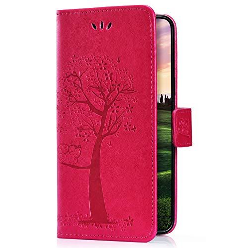Uposao Kompatibel mit Samsung Galaxy M20 Leder Hülle Leder Tasche Retro Baum Handyhülle Brieftasche Klapphülle Book Case Wallet Flip Case Cover Tasche Handy Schutzhülle,Hot Pink