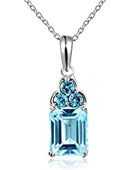 Mujeres plata esterlina 925 4,4 Carats topacio azul naturales colgante collares by Dormith®
