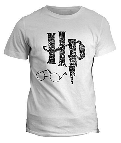 T-Shirt im Stil von Harry Potter, Zauberspruch, Magie, Zauberstab, Brille, Kelch, Stein, Symbol, alle Größen für Herren, Damen und Kinder, fshP90BS-D, Weiß, fshP90BS-D Frau-Small
