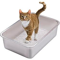 Yangbaga Arenero Gigante Gato Aseo Gatos Conejo 50*35*15 CM (Silver)