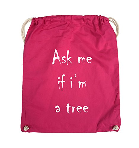 Comedy Bags - Ask me if i'm a tree - Turnbeutel - 37x46cm - Farbe: Schwarz / Silber Pink / Weiss