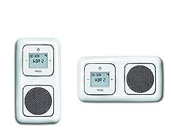 Busch Jäger Unterputz UP Digitalradio (8215U) alpinweiß Komplett-Set Reflex SI Lautsprecher + Radioeinheit + Abdeckungen in 2 fach Rahmen integriert