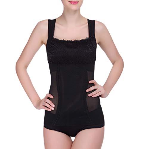 IZHH Firm Control Body Shaper Taille Trainer Shaper Unterbrustkorsett Cincher Shapewear Frauen Unterwäsche Spitze Atmungsaktiv Taille Körper Korsett(Schwarz,M)