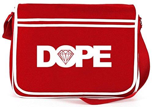 Retro Messenger Bag Umhänge-Kuriertasche der Marke ShirtStreet24 mit Dope Motiv Rot