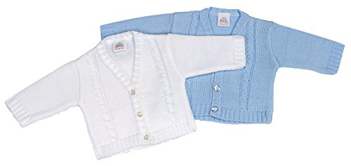 Dandelion Baby Boy Cable Knitted Bolero Cardigan for Newborn - 18 Months (Newborn, Blue)