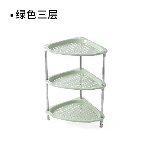 XIGUAZWJ Multifunktions-Rack Multi-Layer Badezimmer Rack Badezimmer Dreieck Grün Kunststoff Rack Küche Lagerung Lagerung Boden Regale, Grün, DREI