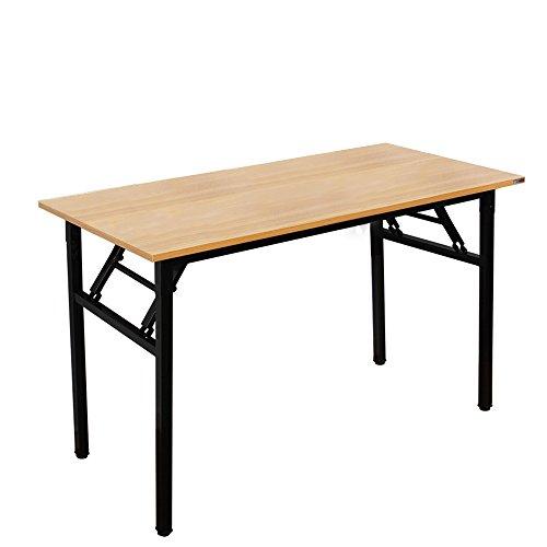 NeedHome Klapptisch Computertisch 120 x 60 x 75 cm PC Schreibtisch Schreibtisch Büroarbeitsplatz für Home Office Verwendung Schreibtisch, Esstisch Konferenztisch,Teak & Schwarz,AC5BB-120-SH -