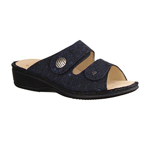 Finn Comfort Panay-Soft - Damenschuhe Pantolette / Zehentrenner, Blau, leder (cris) Blau