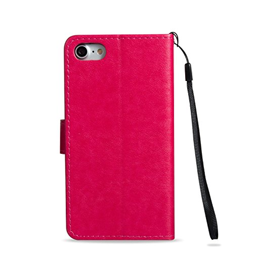 JIALUN-Telefon Fall Mit Kartensteckplatz, Lanyard, Druck Schöne Muster Mode Open Handy Shell Für IPhone7 ( Color : Purple , Size : IPhone 7 ) Red