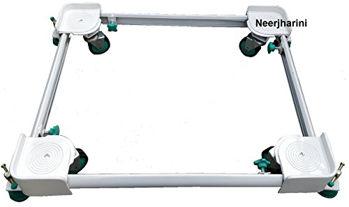 Neerjharini Heavy Duty Universal Adjustable Front/Top Loading washing machine Movable Metal Trolley/Stand With Green Wheels and Green Stoppers (Size Accommodation: 16