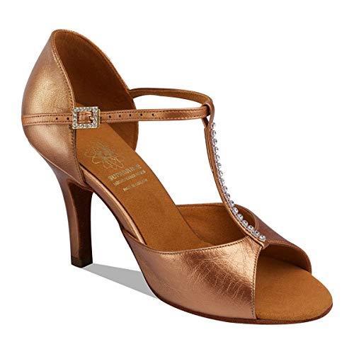 Supadance Style 1010 Damen Tanzschuhe, Satin-Leder, T-Bar Lateinische Sandale auf SD/Stiletto Last, Dark Tan Sateen Leather - Größe: 38