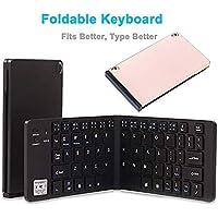LETTER Teclado Plegable portátil Ultra Delgado Teclado Plegable inalámbrico Bluetooth con Soporte de teléfono Celular para
