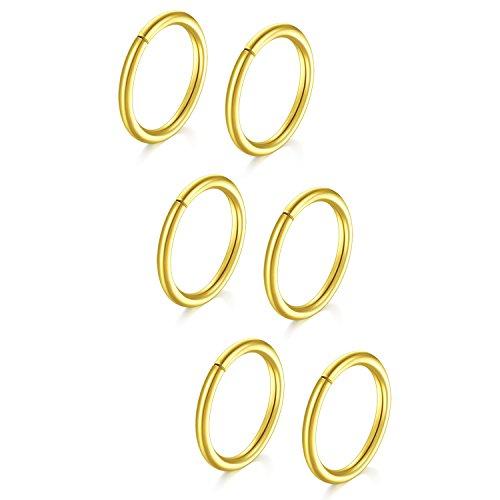 Vf vfun anelli del naso, 6 pezzi anelli del naso cartilagine orecchini cerchio a setto helix trago infinito oro piccoli piercing 18 gauge 10mm