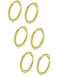 18G Piercing Nez Anneaux Hoop Oreilles, Piercing Lèvre Femme, Rond Faux Septum Cartilage Tragus Helix 6-18 Pieces Acier Chirurgical
