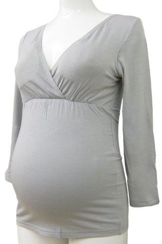 ST0266 Top d'allaitement en tissu de bambou ¨¤ manches 3/4 gray