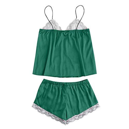 Linkay Damen Nachthemden Schlafanzugoberteile Süße Spitze Bequem Zuhause Schlafanzughosen Gestickte Seide Pyjama Gesetzt Mode 2019 (Grün, Small) -