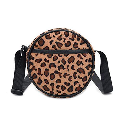 EJY Frauen Runde Form Leopard Plüsch Mini Crossbody-Beutel Mädchen-Geldbörse(Leopardenmuster)
