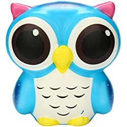 Jumbo Squishies Slow Rising búho Decoración Squishy Kawaii Stress Relief Toys STRIR (Azul)