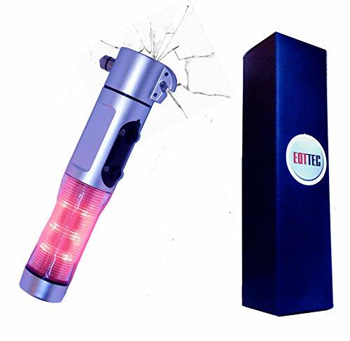 Preisvergleich Produktbild Personen Sicherheit Notfall Hammer mit LED Taschenlampe Messer Klinge Magnet blinkend Personenschutz Handtasche Auto Notleuchte Schutz Leucht Signal Knopf mit Batterie