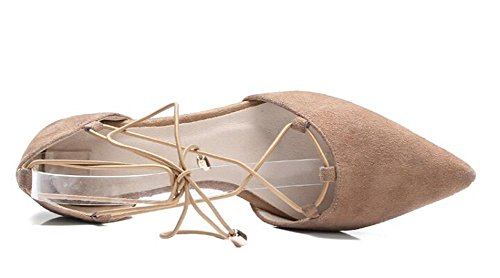 PBXP D 'orsay Spitz-Zeh-Krawatten X-Riemen Kätzchen Low Heel Leder Frauen Casual Work Party Elegante römische Schuhe Aprikose Schwarz Europa Größe 34-39 apricot