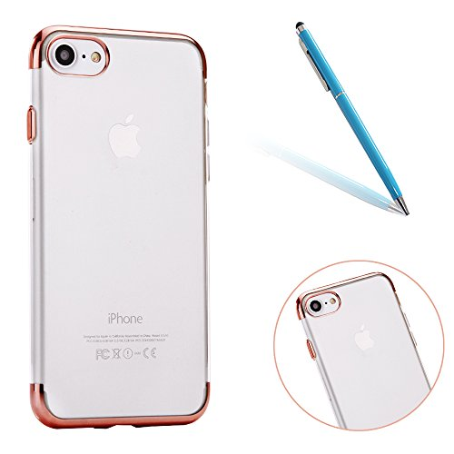 "iPhone 7 Hüllen, Durchsichtig Klar CLTPY iPhone 7 Ultradünn Flexible Überzug TPU Schale Etui, Antirutsch Full Body Cover für 4.7"" Apple iPhone 7 + 1 x Stift - Gold D Rose Gold E"
