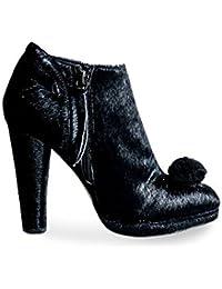 05fe51c8d7ca Mifani-Black Calf Hair Pom Pom Boot