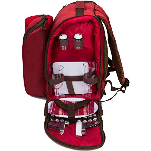 L&Z Roter Picknickrucksack für 2 Personen, Korb mit Kühltasche, inkl. Geschirr und...
