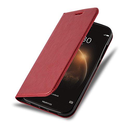Cadorabo Hülle für Huawei G7 Plus / G8 / GX8 - Hülle in Apfel ROT - Handyhülle mit Magnetverschluss, Standfunktion & Kartenfach - Case Cover Schutzhülle Etui Tasche Book Klapp Style