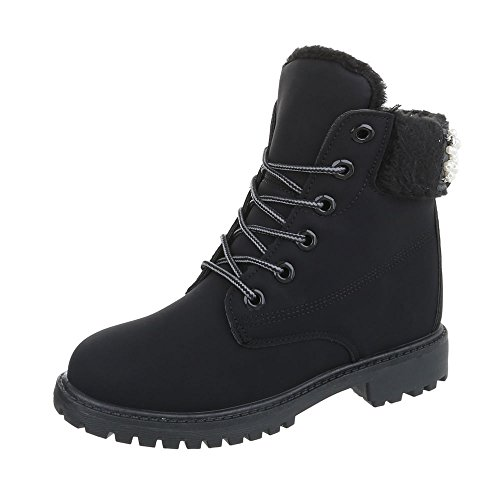 Schnürstiefeletten Damen-Schuhe Schnürstiefeletten Blockabsatz Schnürer Schnürsenkel Ital-Design Stiefeletten Schwarz, Gr 38, An-101-