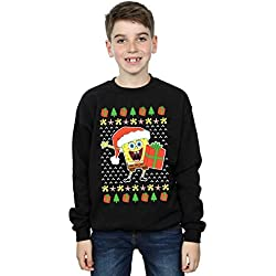 Absolute Cult Spongebob Squarepants Niños Ugly Christmas Camisa De Entrenamiento Negro 12-13 Years