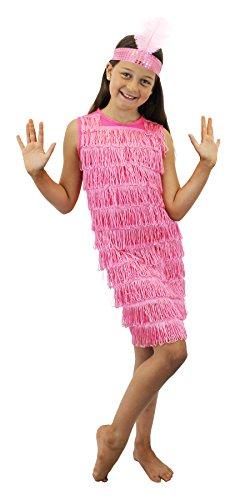 KINDER FLAPPER FRANSEN KLEID = ERHALTBAR IN SCHWARZ -ROT ODER ROSA = MIT FARBLICH PASSENDEM STIRNBAND MIT FEDER = DAS KLEID HAt FRANSEN AUF DER VORDERSEITE = ERHALTBAR IN 4 (Kostüm Mädchen Tanz Flapper)