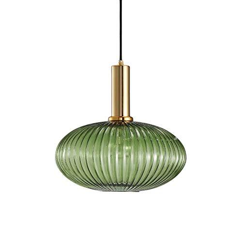 HJXDtech Industrial Vintage Groß Pendelleuchte Moderner Retro-Stil Drop Deckenleuchte Hängelampe Grünes Glas Lampenschirm mit poliertem Messing Lampenfassung