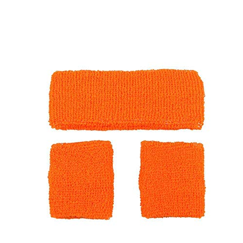 80's Sweatband And Wristbands NEON ORANGE for Fancy dress Accessory