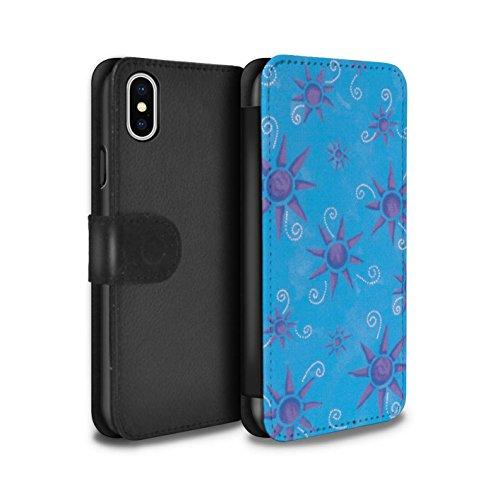 Stuff4 Coque/Etui/Housse Cuir PU Case/Cover pour Apple iPhone X/10 / Bleu/Violet Design / Motif Soleil Collection Bleu/Violet