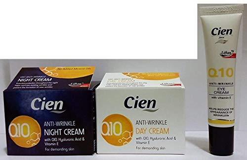 Lot de 3 Cremes Anti-rides cien Q10 (1 de nuit + 1 de jour + 1 contour des yeux) acide hyaluronique