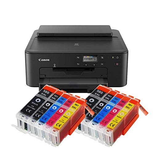 -705 All-in-One Farbtintenstrahl-Multifunktionsgerät (Drucker, USB, CD-Druck, WLAN, LAN, Apple AirPrint) Schwarz + 10er Set IC-Office XXL Tintenpatronen ()