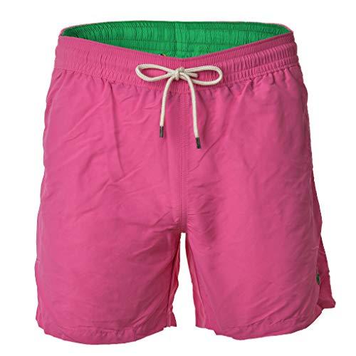 Polo Ralph Lauren Herren Badeshorts - Traveler-Swim, Badehose, Mesheinsatz (Pink, L (Large))