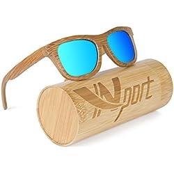 Ynport - Gafas de sol polarizadas para hombre/mujer, con revestimiento de madera clásica de carbón de bambú, estilo vintage wayfarer flotante, azul
