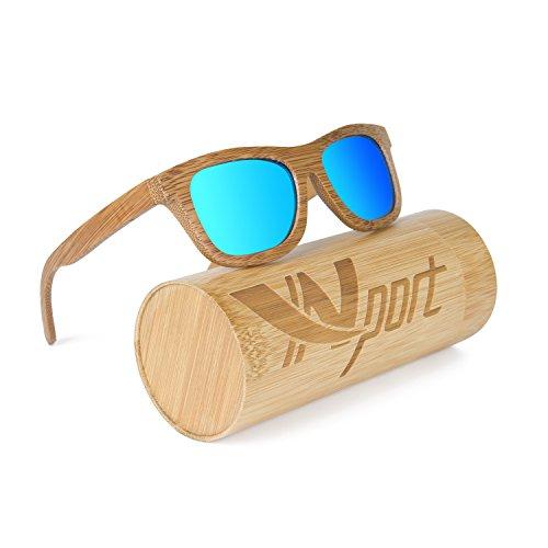 Gafas de sol polarizadas Ynport unisex tipo WayFarer, con revestimiento de madera clásica de carbón de bambú, estilo vintage (flotan en el agua)., azul, talla única