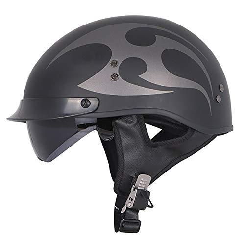 Motorradhelm Fiberglas Retro Motorrad Half Face Casco Casque Innenvisier Chopper Helme, Schwarz-1, L