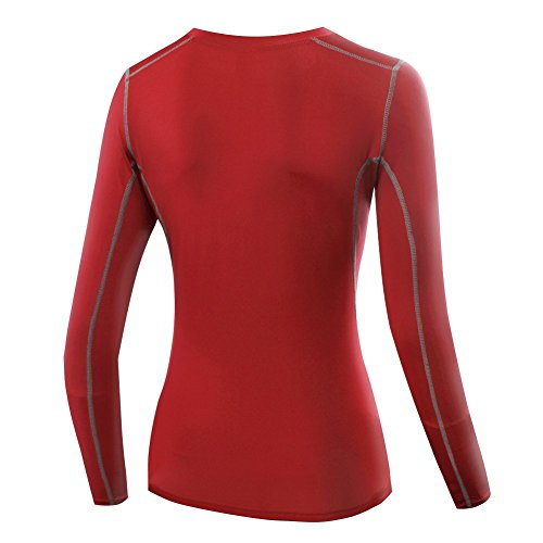 ESHOO Femme Compression T-Shirt de Yoga Basketball Fitness A Manches Longues Blouse Sport Top Rouge