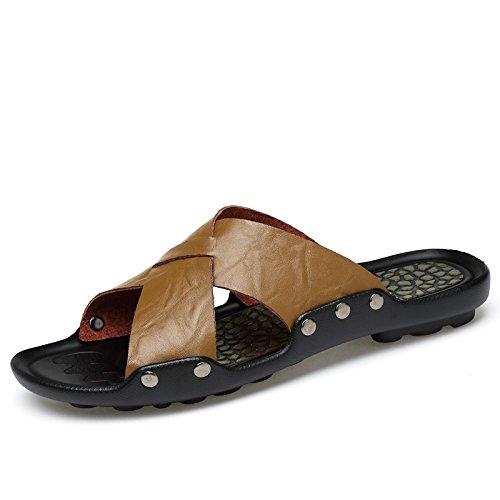 ZYUSHIZ Cool en cuir Chaussons cuir sandales de plage antidérapant Cool Loisirs Chaussons Wild 42