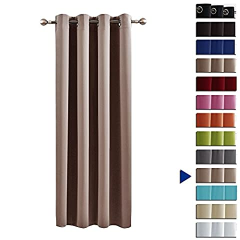 Blackout Curtain Drape Window Treatments - PONY DANCE Top Eyelet Thermal Insulated Nursery Décor Blackout Window/ Curtain Drapery for Dorm & Bedroom, Single Panel, W 52 In x L 63 In, Khaki