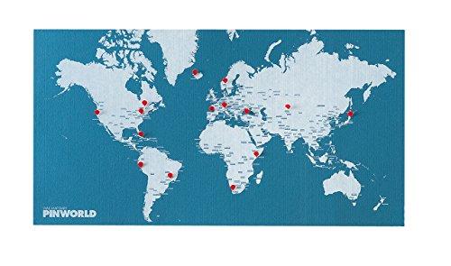 PALOMAR Pin World - Mappemonde 125,5 x 68 cm, Bleu