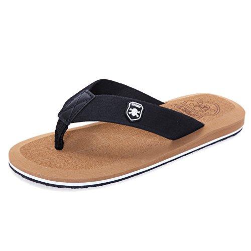 Chaussons d'été, men's cool rdp, l'antidérapage, tongs chaussures de plage Black and brown