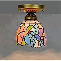 Yjmgrowing Luz De Techo De Estilo Retro Tiffany Rosa De 8 Pulgadas En Vitrales Lámparas De Techo para Pasillo Pasillo Lámpara Decorativa Pequeña Decorativa, E27,110-240V (Sin Bombillas)