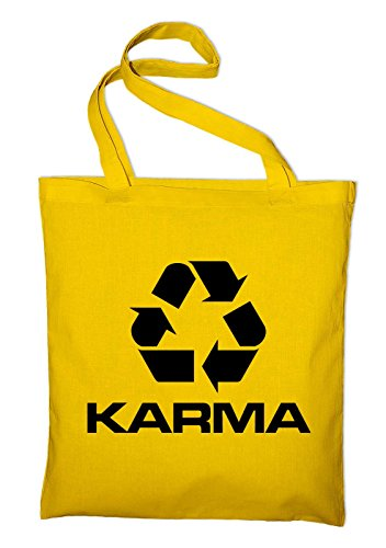 Karma Logo Symbol Recycling Umweltschutz Jutebeutel, Beutel, Stoffbeutel, Baumwolltasche, gelb Gelb
