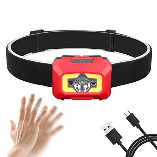 Asolym Scheinwerfer Multifunktionssensor Scheinwerfer Fernlicht Abblendlicht Zwei in einem USB wiederaufladbare wasserdichte Glare Fishing LED Scheinwerfer 2 Schalter 5 Beleuchtungsmodi,Red