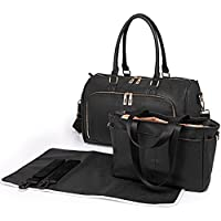 e36fd7e5a1b93 Miss Lulu 3 Pieces Baby Nappy Diaper Changing Bag Set Large Shoulder  Handbag PU Leather Tote