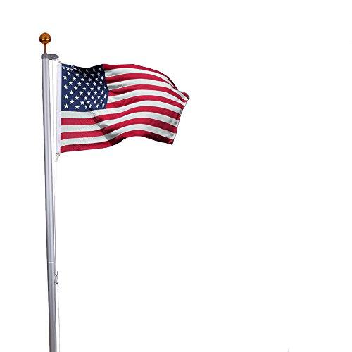 Anself Aluminium Fahnenmast bis zu 7,6 m Inkl. Amerika Fahne + Golden Kugel+ Zugseil